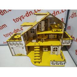 Домик кукольный №1 с гаражом неразборный (27*52*35см)