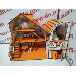 Домик кукольный №4 с большим гаражом (27*46*35см)